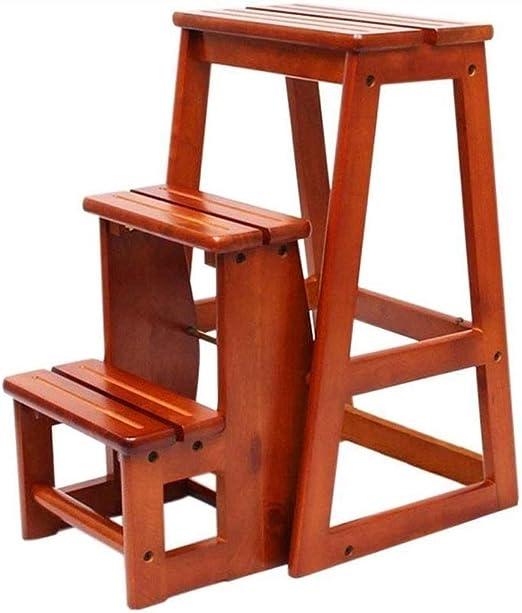 FFANY Silla Escalera Plegable multifunción se Puede Mover la Escalera de Tres Pasos de Madera Maciza, heces Biblioteca: Amazon.es: Hogar