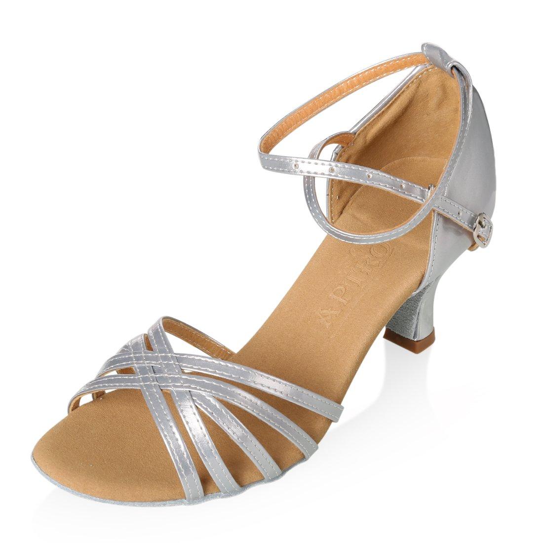 APTRO Damen Schuhe Tanzschuhe Ballsaal Latin Tanzen Silber Sandalen  38 EU|Silber