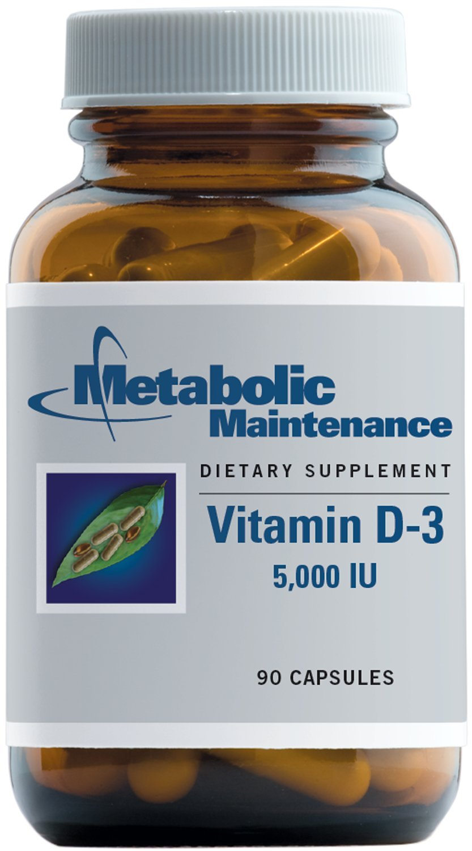 Metabolic Maintenance - Vitamin D-3-5000 IU, High Potency + Easier Absorption, 90 Capsules