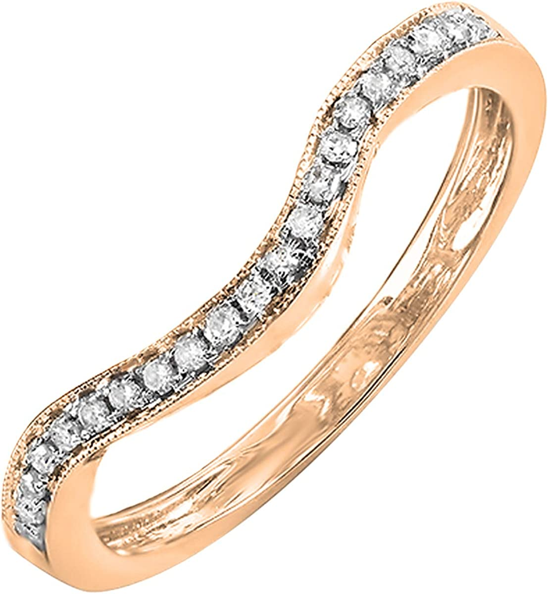 0.15 Carat (ctw) 14K Gold Round White Diamond Ladies Anniversary Stackable Band Contour Guard Ring