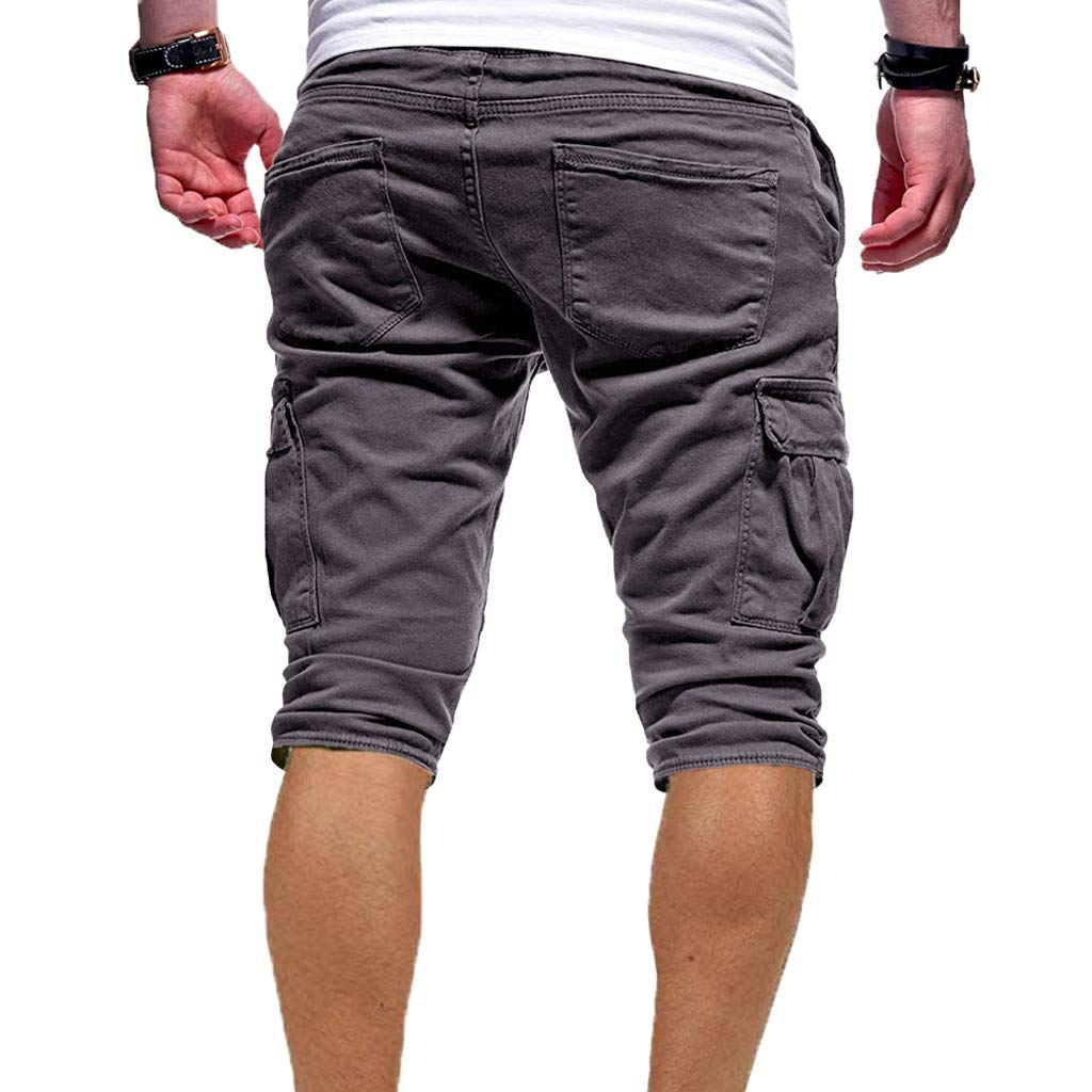Silver Basic Men Personality Drawstring Shorts Casual Bandage Pants Multi Pocket Sports Loose Sweatpants