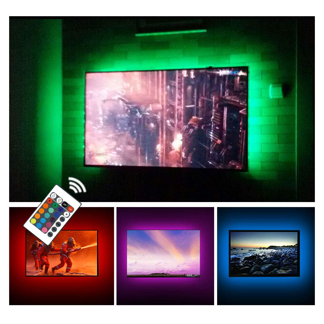 USB TV Backlight LED Bias Lighting Kit For 24'' to 60 Inch Smart TV Monitor HDTV Wall Mount Stand Work Space - TV Background Ambient Mood Lighting Decor