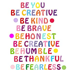 Colorful Wall Lettering Decals, Inspirational Wall Decals Motivational Phrases Stickers Be Creative Be Thankful Decals for Classroom Home Wall Decor