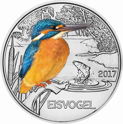 2017 AT Colourful Creatures KINGFISHER Glow In The Dark Coin 3€ Euro Austria 2017 BU Brilliant - Store Discount Euro