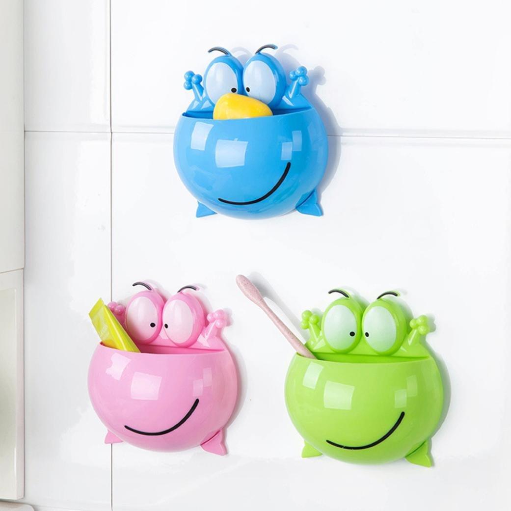 byste casa cuarto de baño soporte para cepillos de dientes soporte de pared ventosa pasta de dientes de almacenamiento Rack: Amazon.es: Hogar