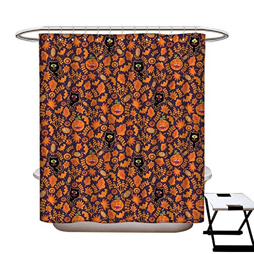 Vintage Halloween Mildew Resistant Shower Curtain Liner Halloween Themed Elements on a Purple Background Scary Mosters Shower Hooks are Included Dark Purple -