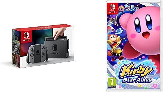 Nintendo Switch - Consola Color Gris + Kirby Star Allies: Amazon ...