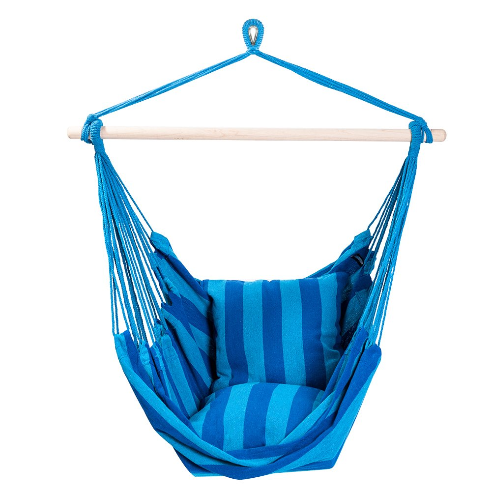 SUNMERIT Hanging Rope Hammock Chair Swing Seat for Indoor or Outdoor Spaces,275 lbs Capacity,2 Seat Cushions Included Blue Green Stripes
