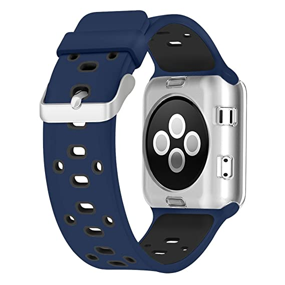 hot sale online new arrival aliexpress UMTELE Compatible with Apple Watch 4 Bands 40mm 38mm, Soft Silicone Sport  Strap with Ventilation Holes Breathable Replacement Bands Replacement for  ...