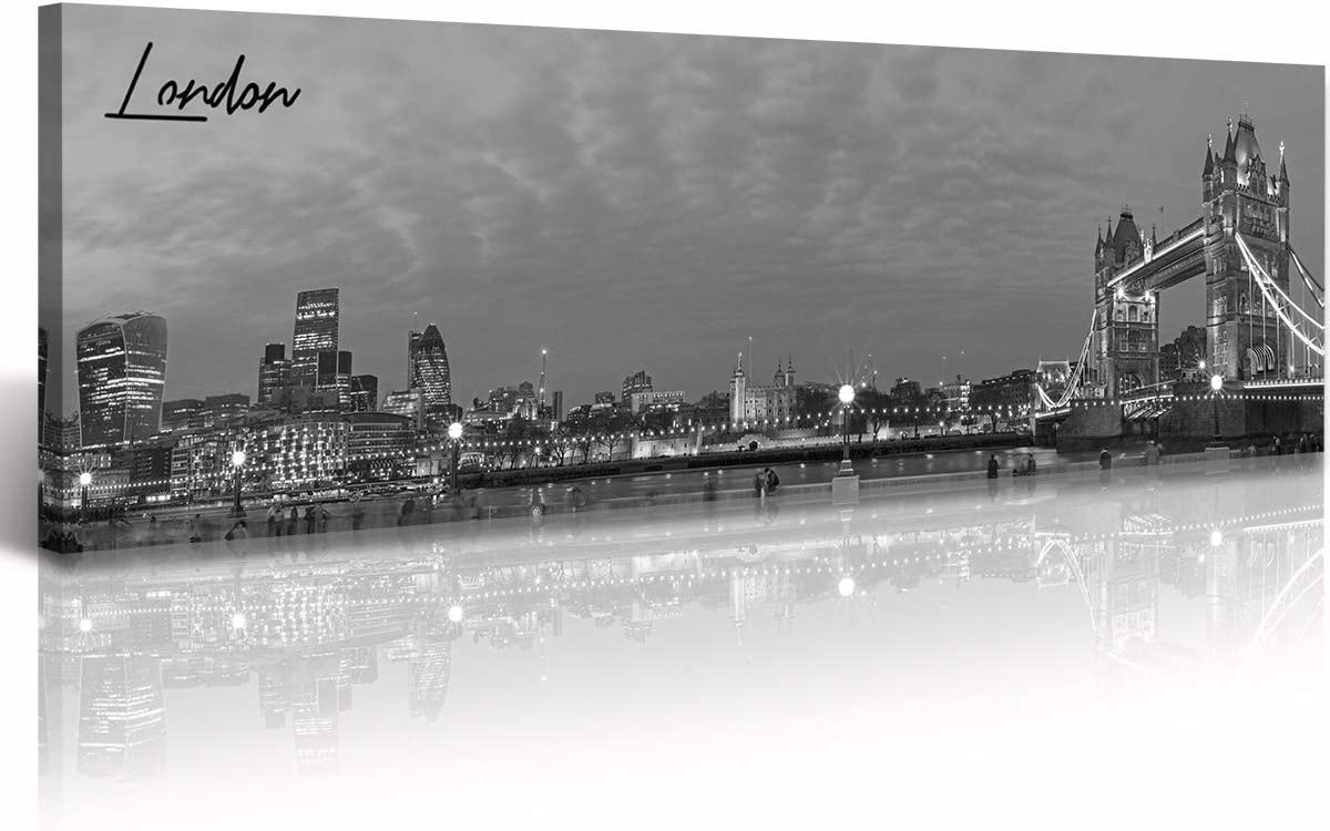 "London Skyline Wall Art Tower Bridge Canvas Prints Black and White Night View City Building Panoramic Painting Urban Landscape Poster for Office Bedroom Decor Framed Ready to Hang 13.8"" x 47.3"""