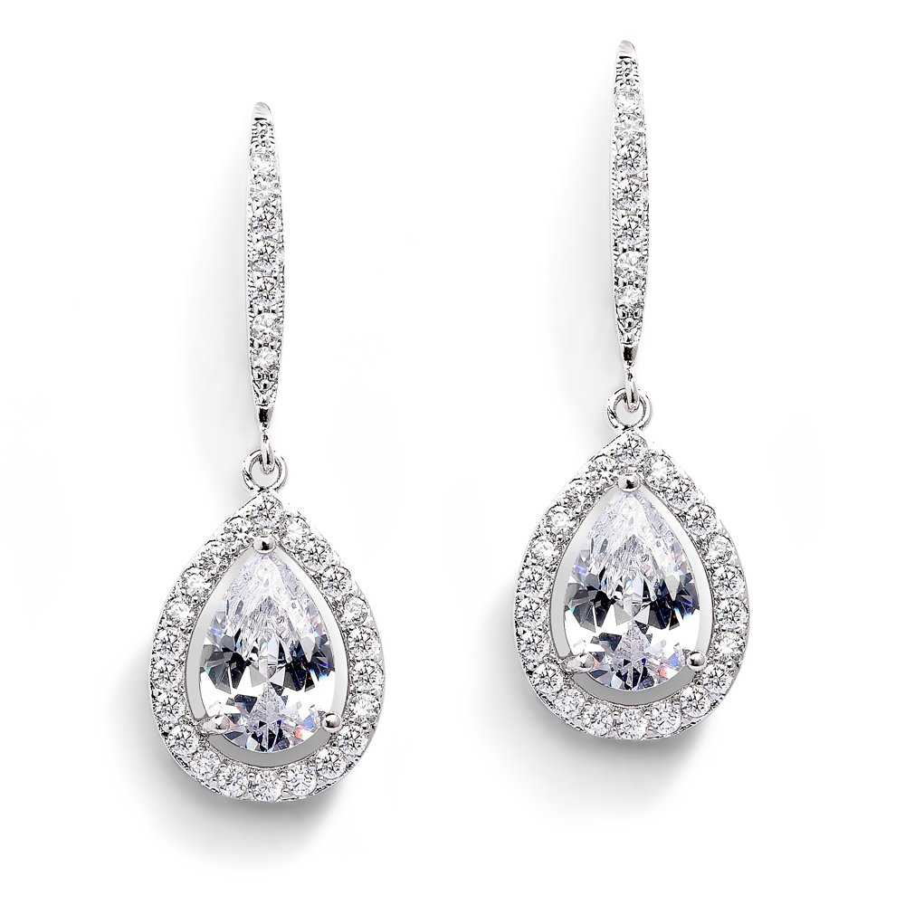 Mariell Pear-Shaped CZ Teardrop Wedding Earrings for Bride or Bridesmaids - Platinum Plated Dangles