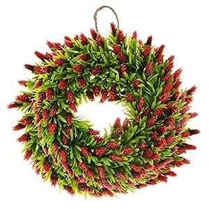 Saim Halloween Home Garden Decor Plastic Plant Floral Bromeliad Front Door Wreath 19.7-Inch Diameter 7
