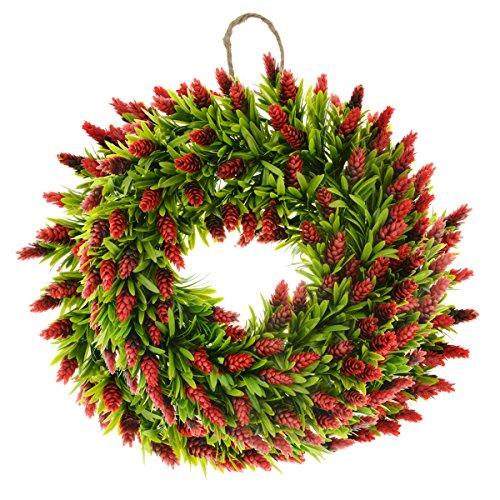 Saim Halloween Home Garden Decor Plastic Plant Floral Bromeliad Front Door Wreath 19.7-Inch Diameter]()