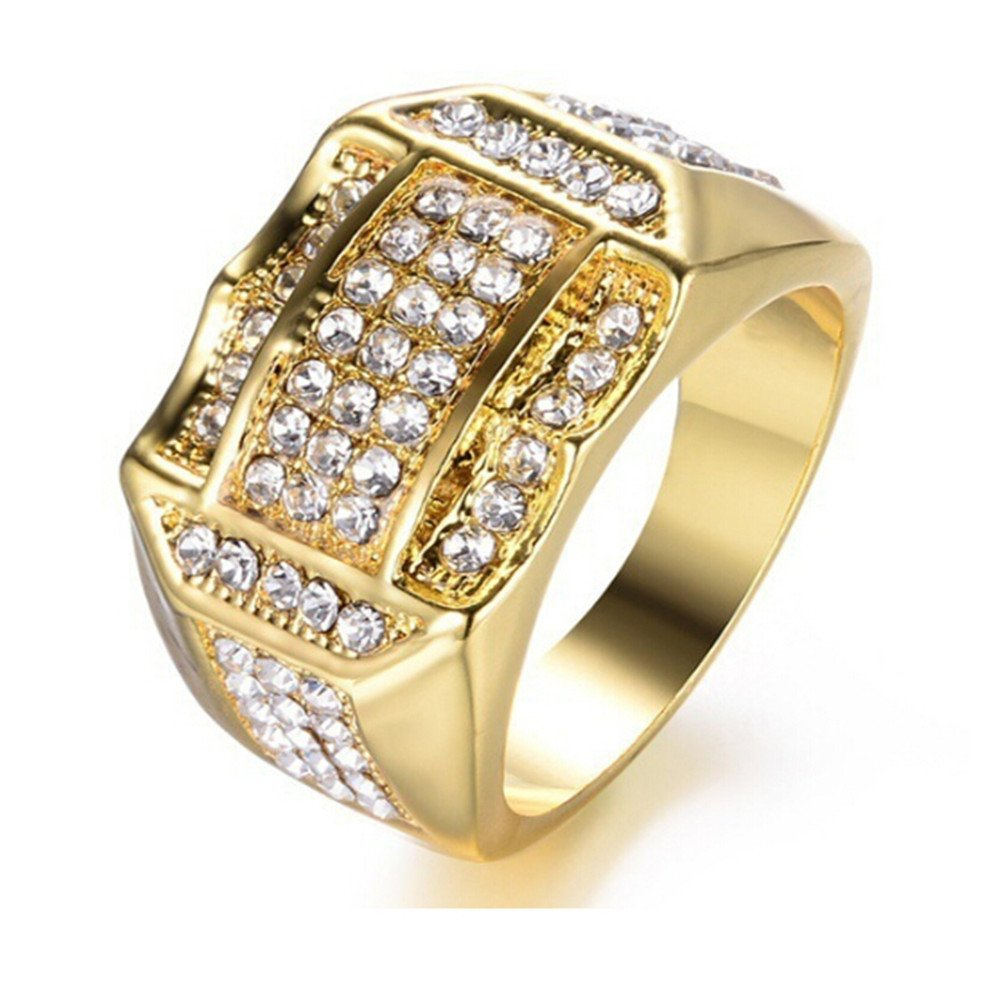 Gbell Unisex Fashion Luxury Diamond Rings Statement - Gorgeous Silver Gold Hip Hop Business Rings for Women Men Birthday Valentine's Day Present,Size 6-12