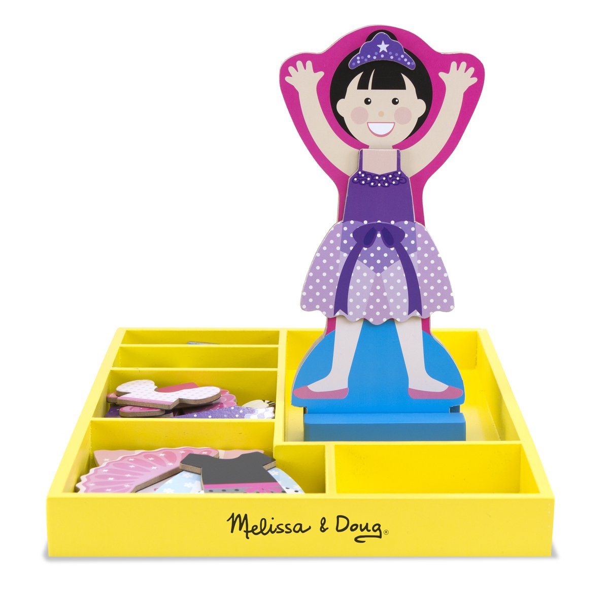 Melissa & Doug Ballerina Leah Wooden Dress-Up Doll and Stand - 33 Magnetic Accessories by Melissa & Doug