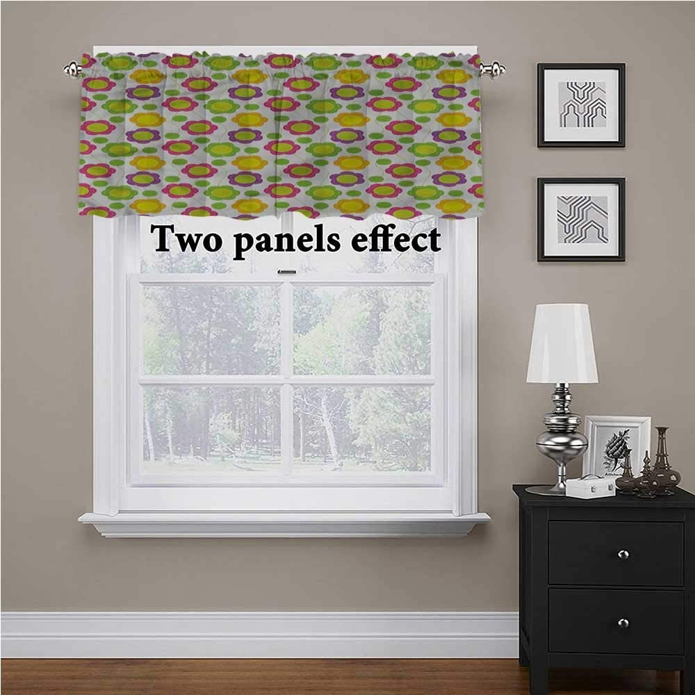 shirlyhome Green Flower Kitchen Tier Curtains Applique Design Tailored Scalloped Valance/Swags, 56 Inch by 14 Inch 1 Panel