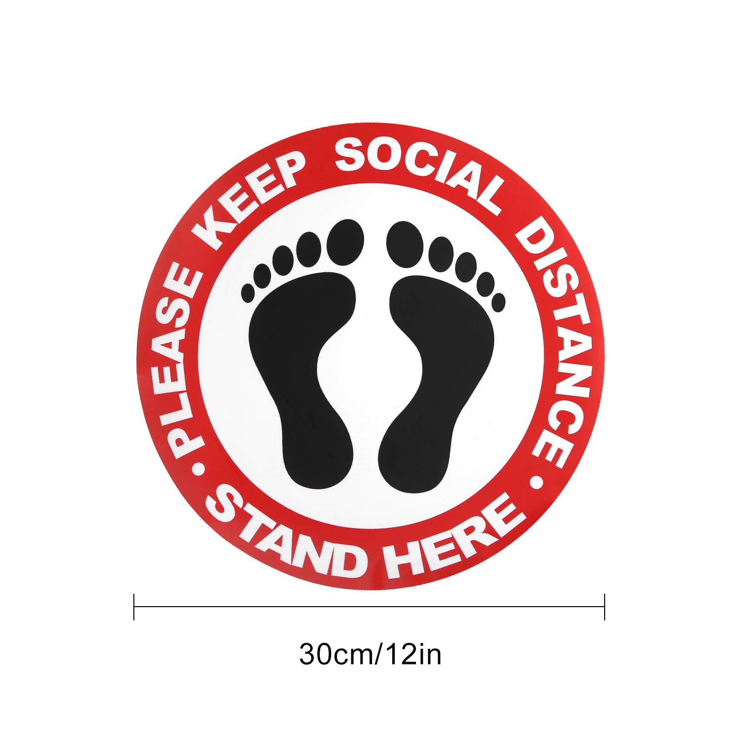 5 PCS Please Practice Social Distancing Floor Sign 12 with Anti Slip Coating red Made to Walk on. Keep 6ft in Between Distance Marker Floor Decal