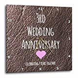 3dRose dpp_154430_2 3Rd Wedding Leather Celebrating 3 Years Together Third Anniversaries Three Yrs Wall Clock, 13 by 13-Inch