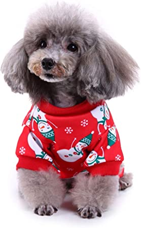 Fucsiaan - Chaleco de Navidad con estampado de muñeco de nieve para perro, camisa suave, ropa de camisa roja para disfraz, para cachorro, perro, gatito, accesorio de moda, poliéster, Snowman#, X-Large: Amazon.es: