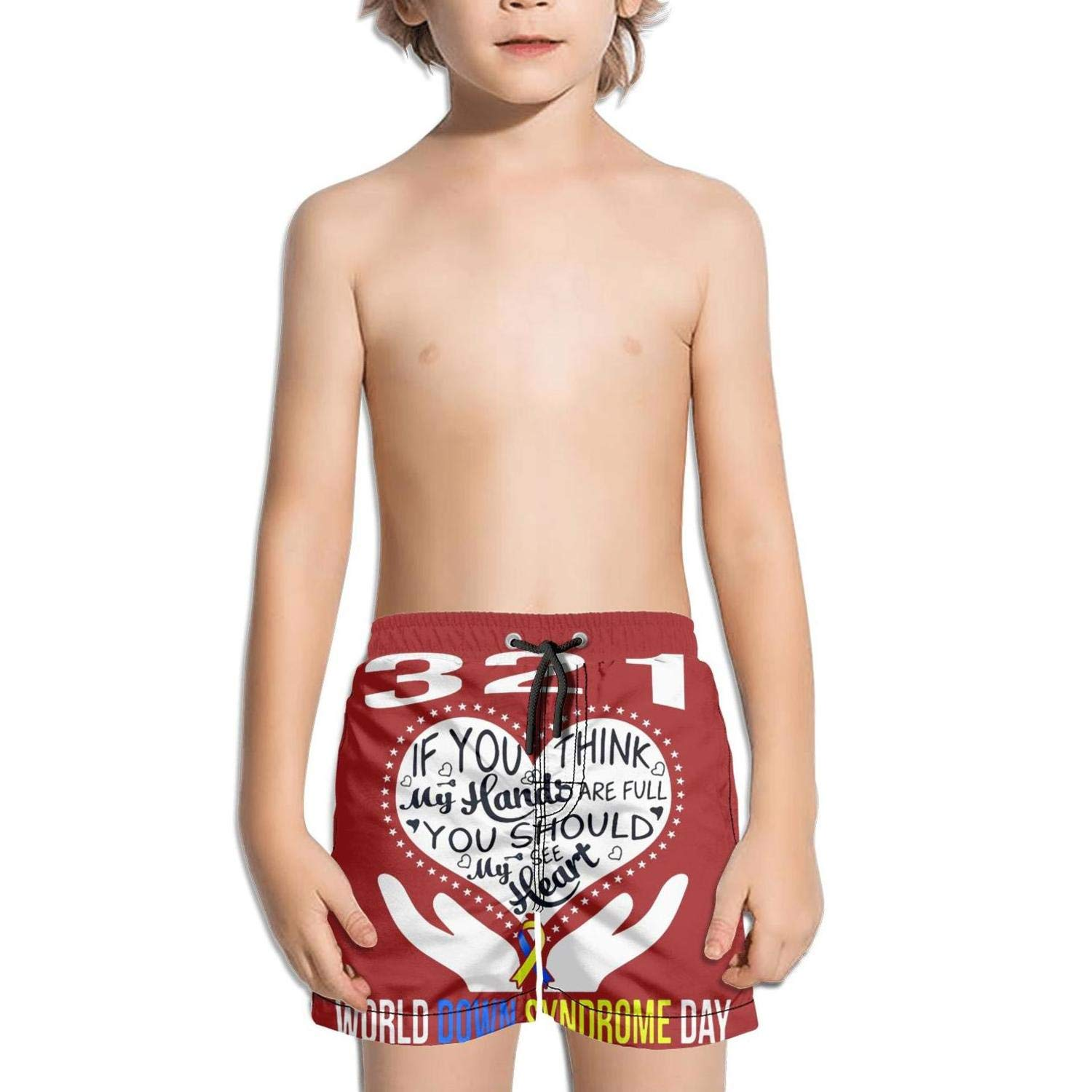 JIONONDS World Down Syndrome Day Heart Kids Solid Board Solid Active Swimming Trunks Shorts