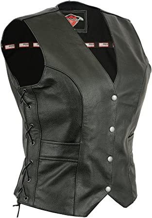 All Sizes Womens Texpeed Leather Motorcycle Waistcoat//Cut With Laced Sides /& Pockets
