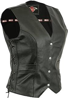 Texpeed - Damen Bikerweste aus Leder - Schnürung an den Seiten & Taschen - EU50-122 cm Brustumfang