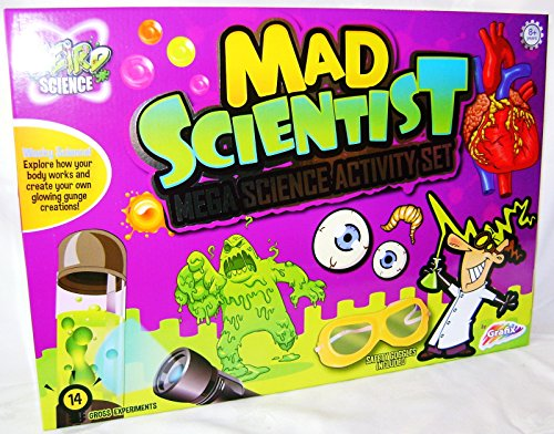 New Mad Scientist Mega Science Set 14 Gross Experiments Grafix LG Explore How Your Body Works and Create Your Own Glowing Gunge Creations