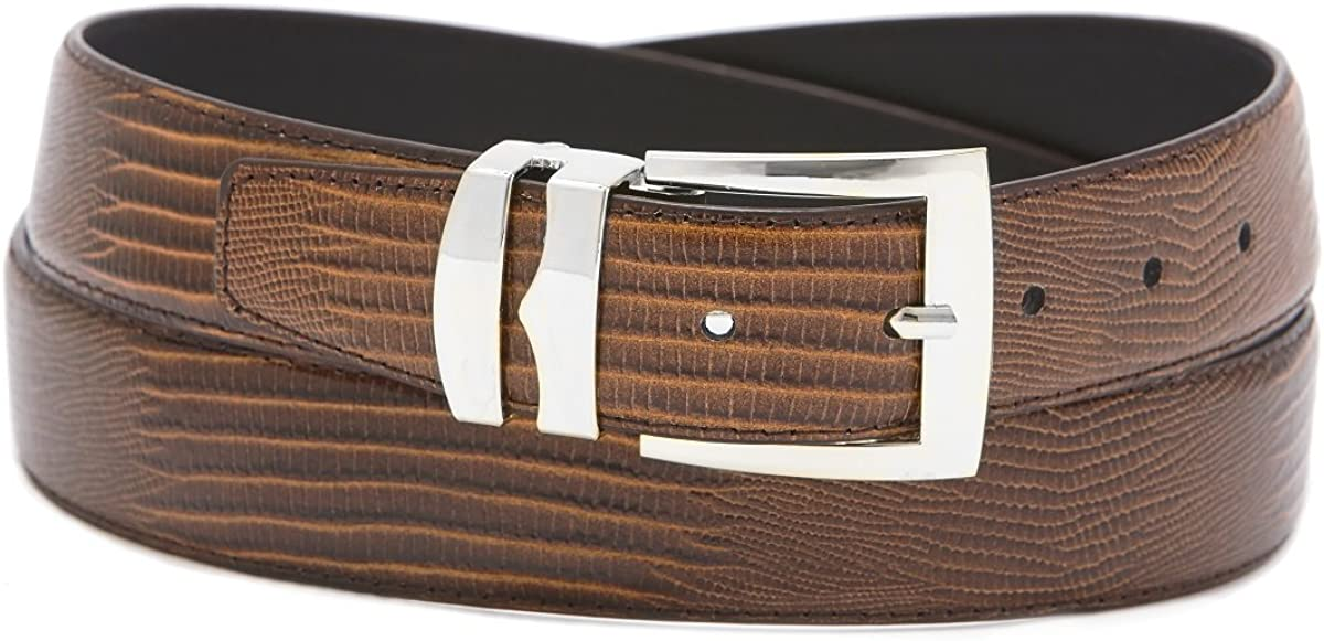 Mens Bonded Leather Belt in Solid Colors LIZARD Skin Pattern Silver-Tone Buckle