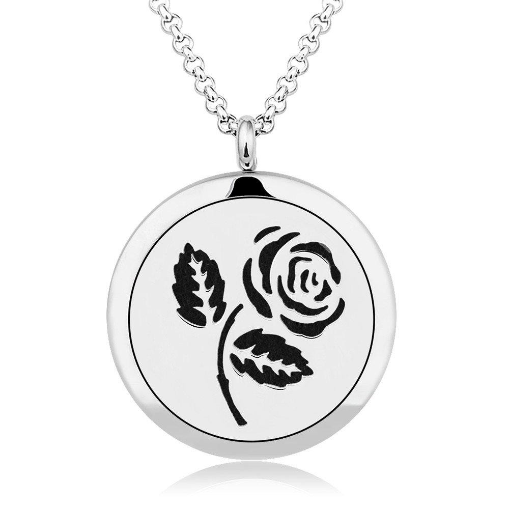 INFUSEU Rose Aromatherapy Essential Oil Diffuser Necklace Flower Design Locket Pendant & 12PCS Refill Pads with 28'' Stainless Steel Chain Express Love perfume Jewelry for women girls by INFUSEU (Image #10)
