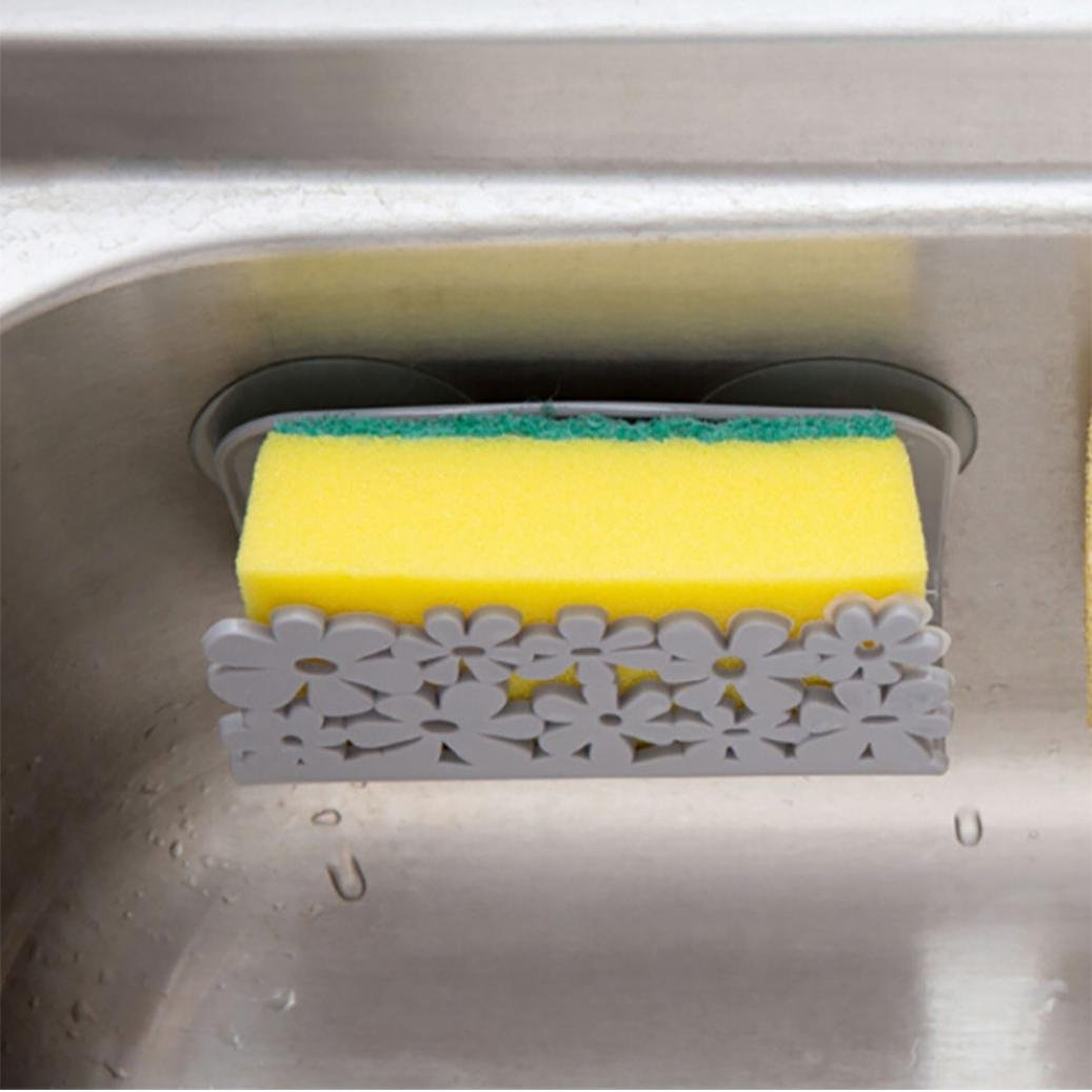 Clearance!BCDshop Kitchen Gadget Organizer Sink Suction Dish Cloths Rack Sponge Holder Rag Storage Rack (Gray)