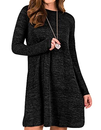 a44e2fc3422e Sanifer Women s Knit Long Sleeve T Shirt Dress Sweater Dress Tunic Dress S  Black