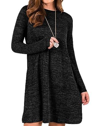 792d9a70030 Sanifer Women s Knit Long Sleeve T Shirt Dress Sweater Dress Tunic Dress S  Black