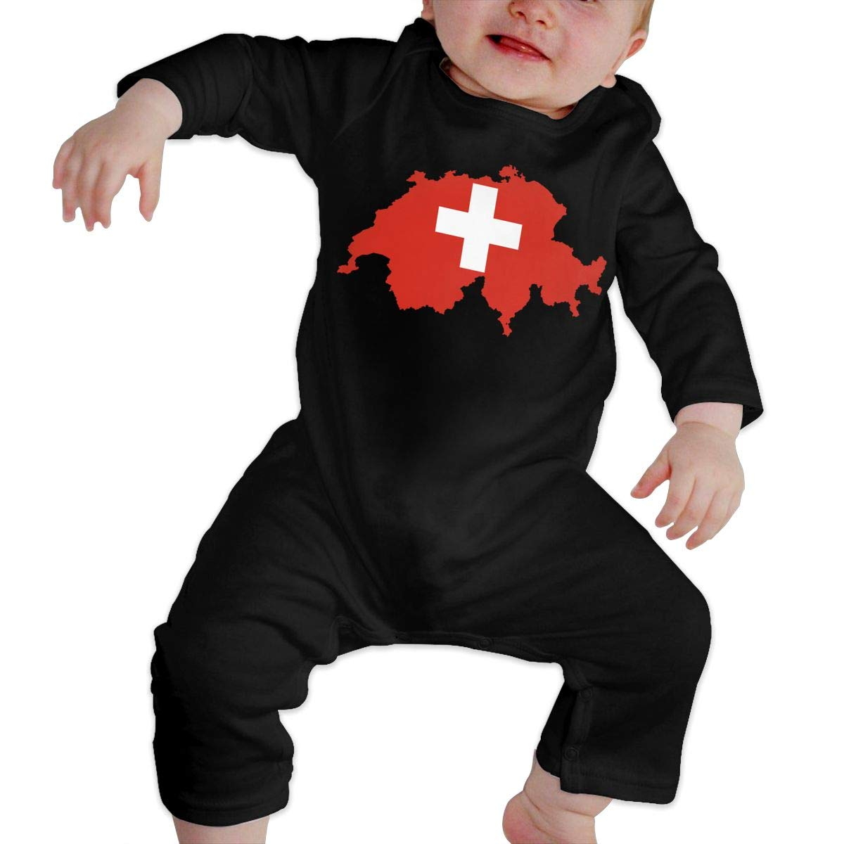 U99oi-9 Long Sleeve Cotton Rompers for Unisex Baby Cute Flag-map of Switzerland Onesies