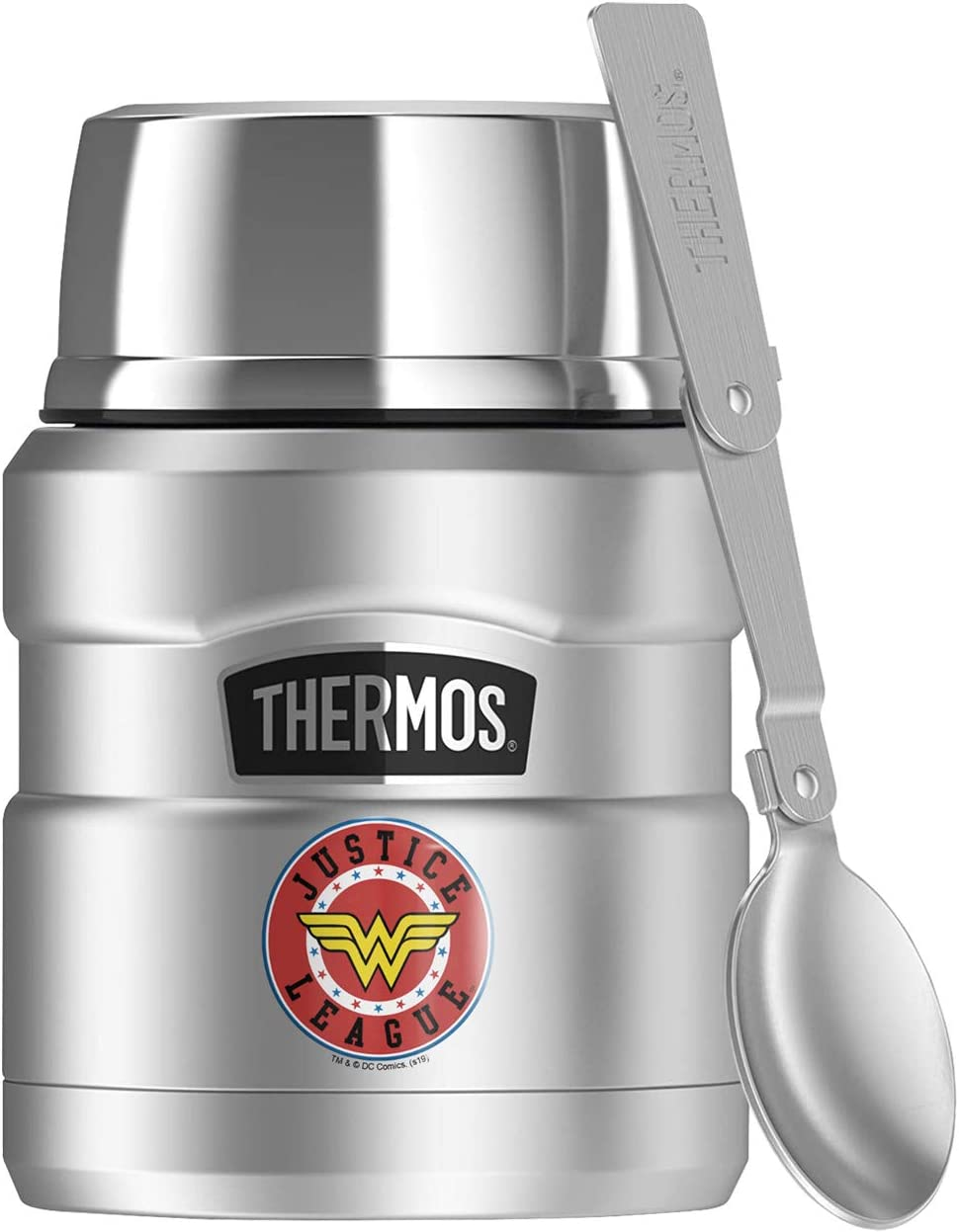Wonder Woman Wonder Woman Athletic Logo, THERMOS STAINLESS KING Stainless Steel Food Jar with Folding Spoon, Vacuum insulated & Double Wall, 16oz