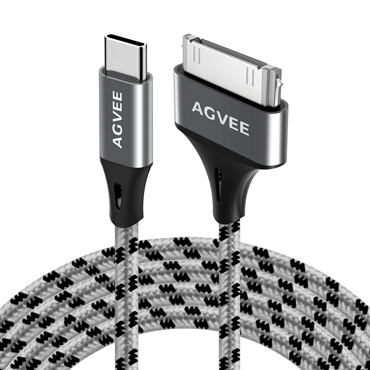 AGVEE [2 Pack 3ft] USB-C to 30 Pin Cable for Old iPhone 4/4S iPad 1/2/3 iPod, Braided Metal Shell Type-C to 30Pin Adapter Charging Charger Data Cord, Gray
