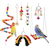 Rubyyouhe8 Bird Accessories/&Bird Vine Rattan Swing Bell Hanging Climbing Chew Bite Cage Ring Parrot Pet Toy Colorful Bird Parrot Toys Hanging Toy for Parakeets Cockatiels Small Pet