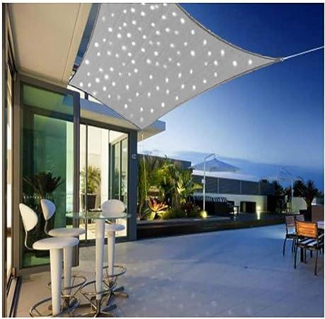 Jardín Toldo, Vela De Protección Solar con Cadena De Luz LED ...