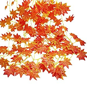 Autumn Garland, GoFriend 12 Strands (90 Feet) Artificial Maple Leaves Garland Red Maple Ivy Vine Hanging Fall Garland for Wedding Home Garden Party Thanksgiving Decor 33