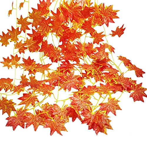 (Autumn Garland, GoFriend 12 Strands (90 Feet) Artificial Maple Leaves Garland Red Maple Ivy Vine Hanging Fall Garland for Wedding Home Garden Party Thanksgiving Decor)
