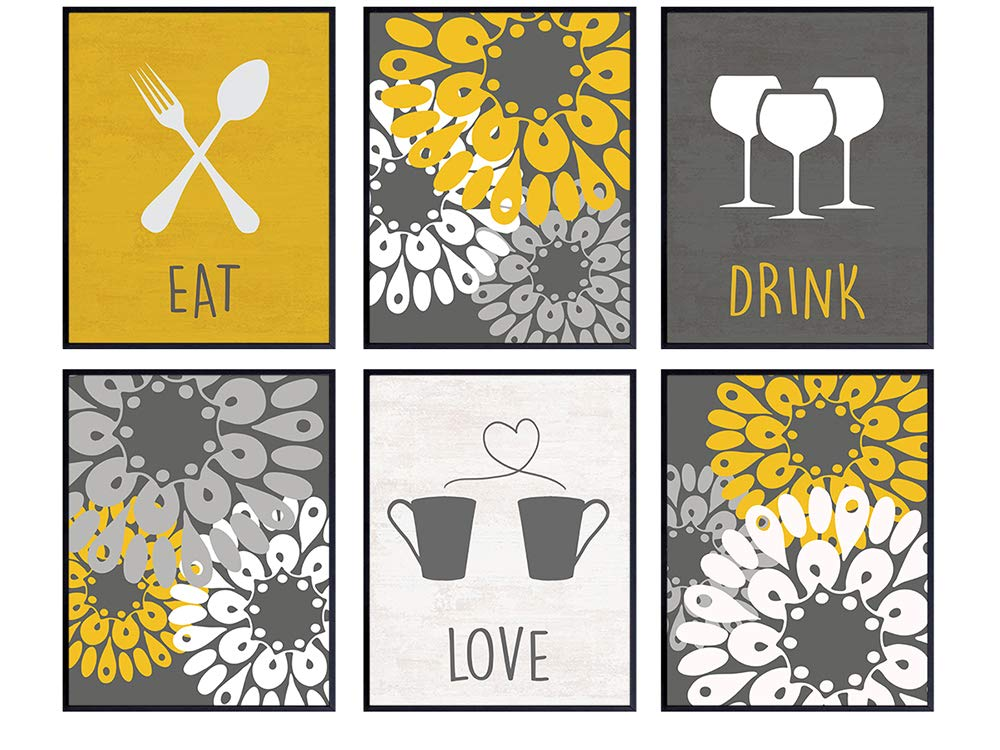 Eat Drink Love Kitchen Decor, Cafe Wall Art, Dining Room Decor - 8x10 Retro Decoration Set - Cute Room Decor or Gift for Cook, Chef, Gourmet - Wine, Coffee Mug, Fork, Spoon - UNFRAMED