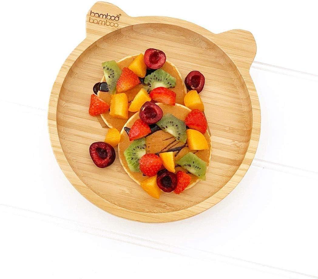 Plato con ventosa para beb/é con dise/ño de panda y texto en ingl/ésStay Put Feeding bamb/ú natural naranja naranja