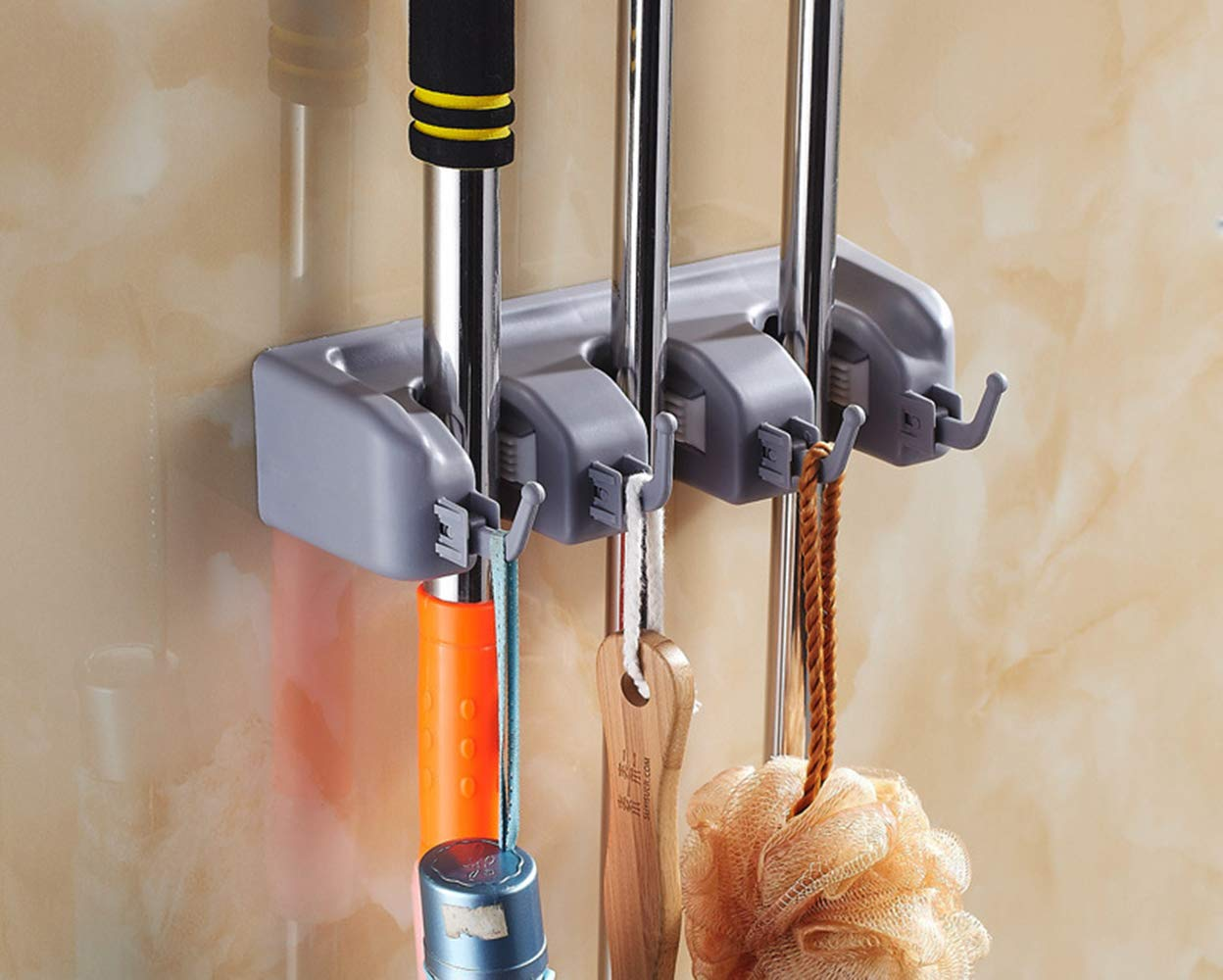 MZ4EVER Mop and Broom Holder Rack Storage, 3 Position with 4 Hooks Garden Tool Organizer Wall Mounted (Grey)