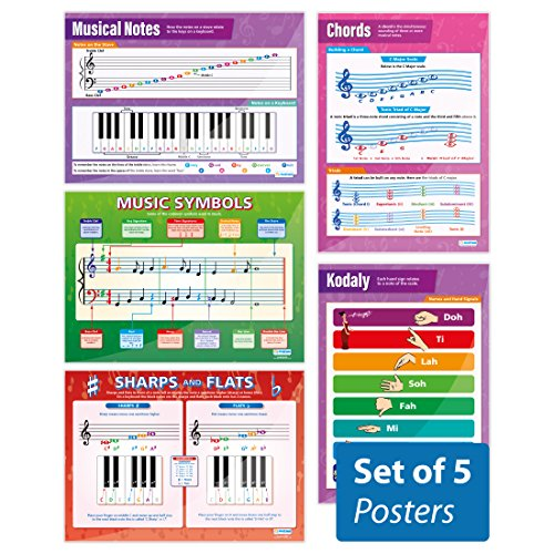 Music Theory Poster Set| Set of 5 Music Theory Wall Charts/Posters In Laminated Paper (large 33.5