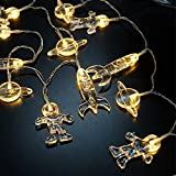 Gold Happy Novelty LED Fairy Lights Spaceman Rocket 1.5M 10 LED Sleep String Lights Battery Operated Children Room Decoration Light-up Toys