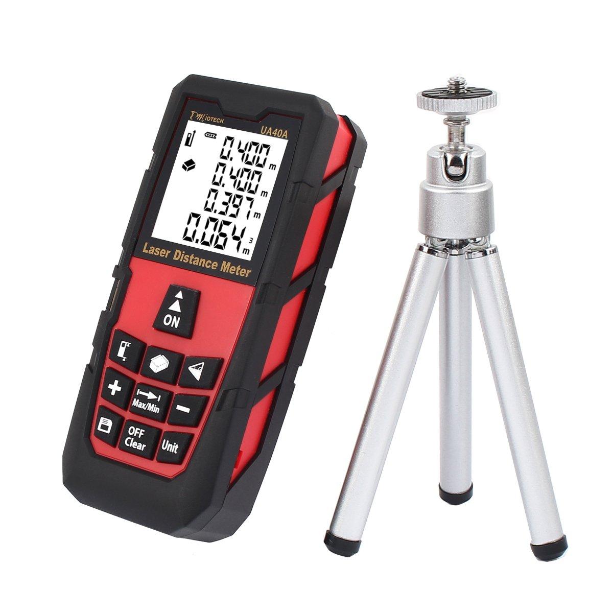 DMiotech Laser Distance Measure 131ft 40m Mini Handheld Digital Laser Distance Meter Rangefinder Measurer Tape Red with Tripod