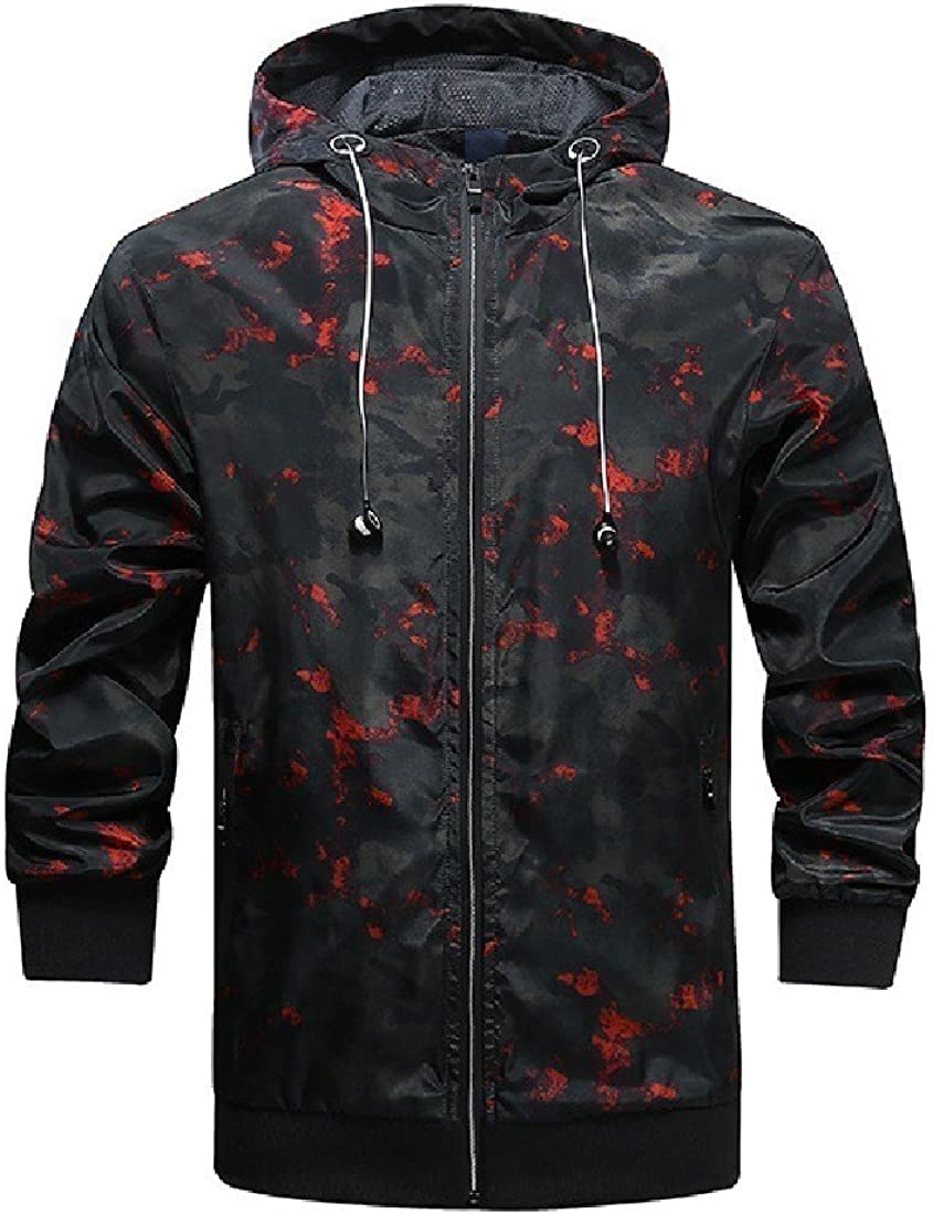 AngelSpace Men Camouflage Athletic Sunscreen Breathable Raincoat Jacket