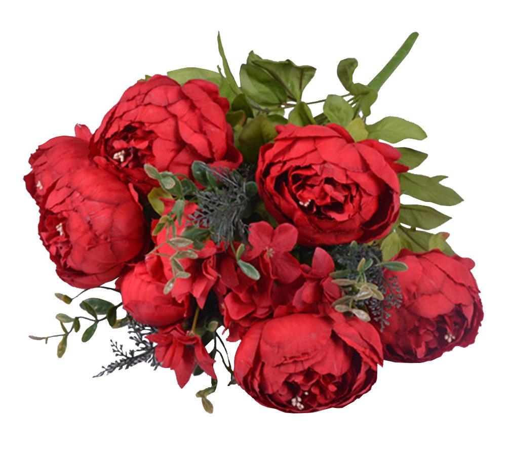 wanture One bouquet Artificial Peony Flower Bouquet for Home Kitchen Wreath Wedding Centerpiece Decor Red