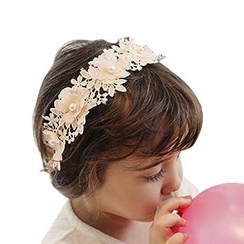 Mint Green ZUMUii Butterme Children Girls Sweet Lace Ribbon Flower Headband with Faux Pearl Hair Band Headdress Hair Accessory
