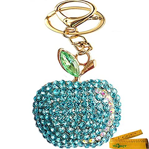 Bling Bling Crystal Rhinestone Graven 3D Cubic Apple Shaped Metal Keychain Car Phone Purse Bag Decoration Holiday Gift - Apple Shaped Key