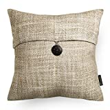 Decorative Pillow Cover - Phantoscope Decorative Texture Linen with Button Throw Pillow Covers (Beige)